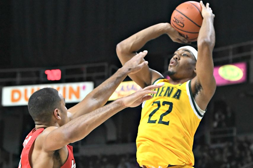Siena's Jalen Pickett makes a pass against Fairfield during a Feb. 7 game at Times Union Center.