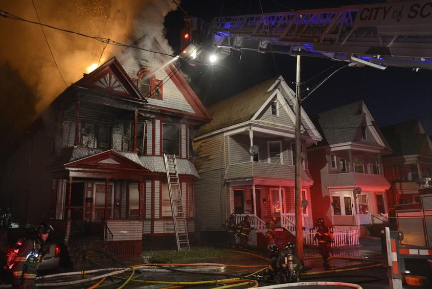 Schenectady firefighters at the scene of the fire, May 2, 2013