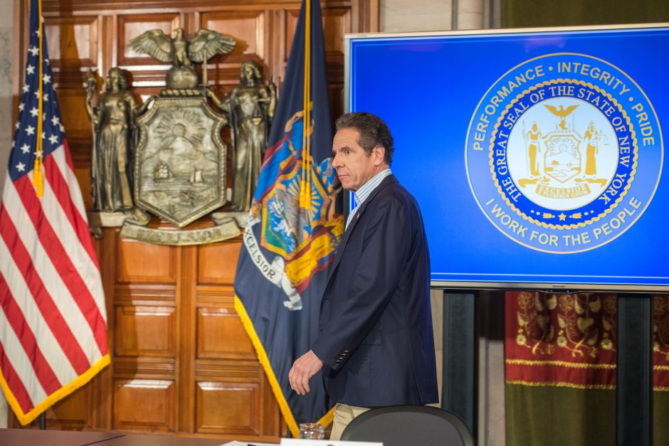 Governor Andrew Cuomo delivers his daily press briefing on COVID-19 on Saturday, April 25.