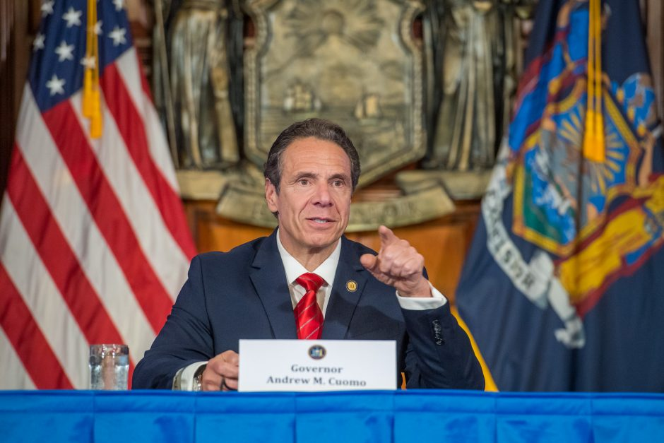 Governor Andrew Cuomo delivers his daily press briefing on COVID-19 on Friday, May 1.