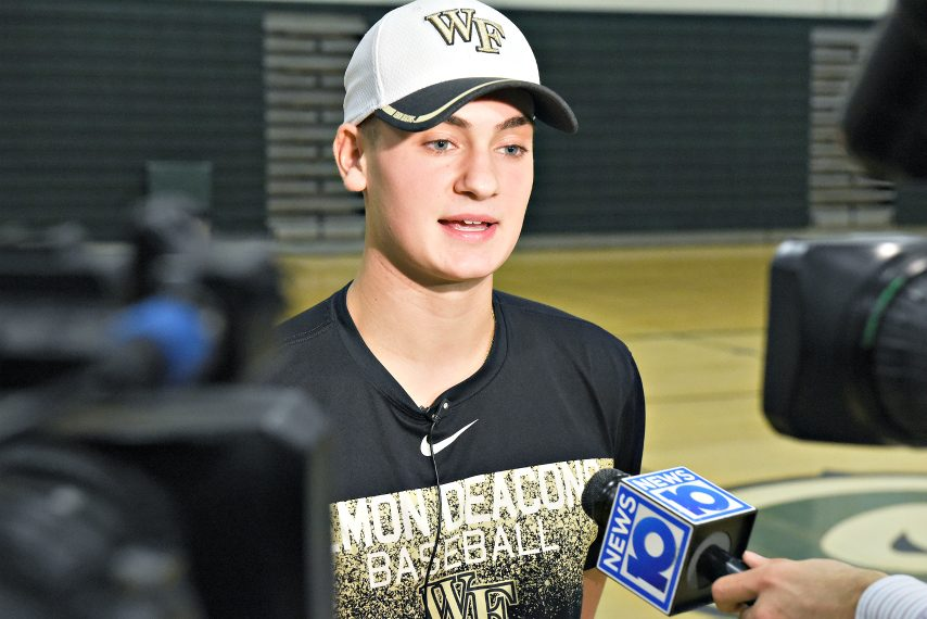 Shenendehowa's Jake Reinisch speaks with the media on Nov. 14 after signing to play baseball at Wake Forest University.