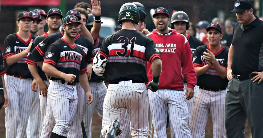 Joe Genord of the Amsterdam Mohawks crosses home plate after hitting a two-run home run on Aug. 8, 2018 at Shuttleworth Park.
