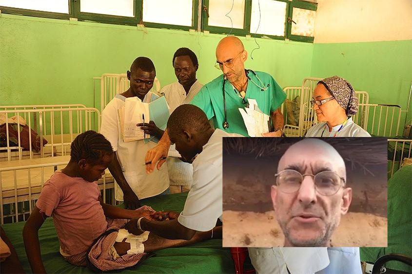 Dr. Tom Catena from his video (inset); Dr. Catena at work in Sudan (background)