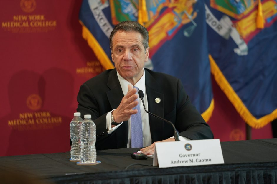 Governor Andrew Cuomo delivers his daily press briefing on COVID-19 on Thursday, May 7.