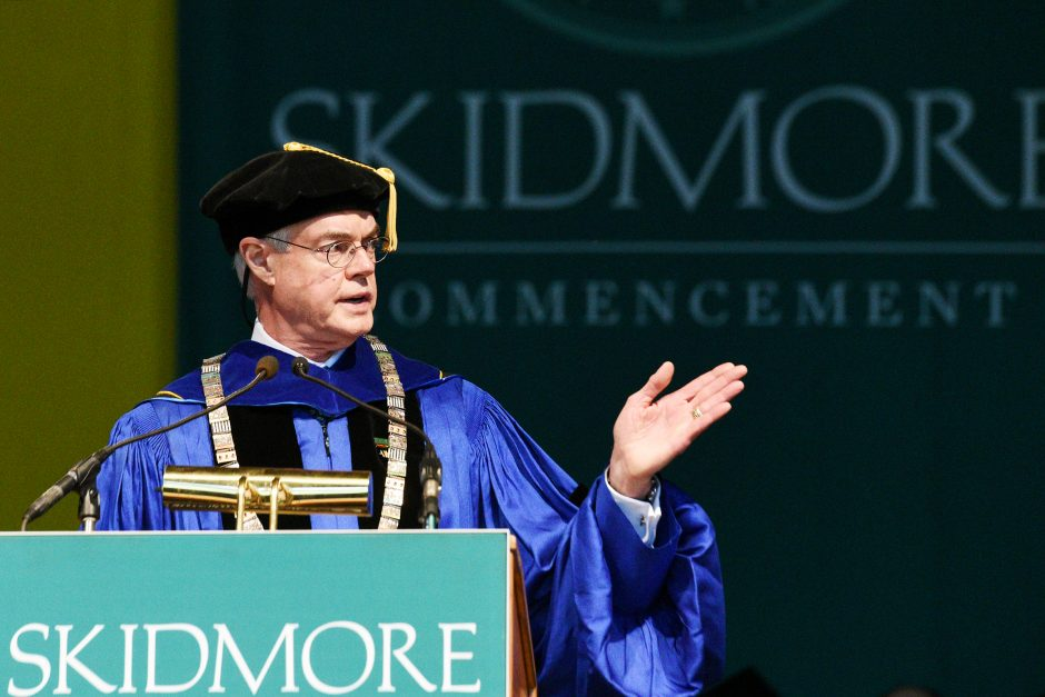 President Philip A. Glotzbach gives his address during Skidmore College's 108th Commencement at SPAC in May 2019.