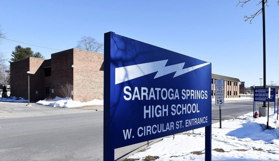 The entrance to Saratoga Springs High School is pictured.