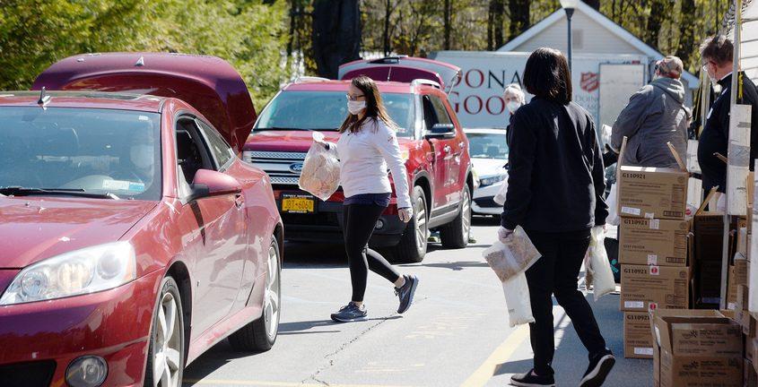 Volunteers during Salvation Army of Saratoga Springs drive thru food pantry May 5