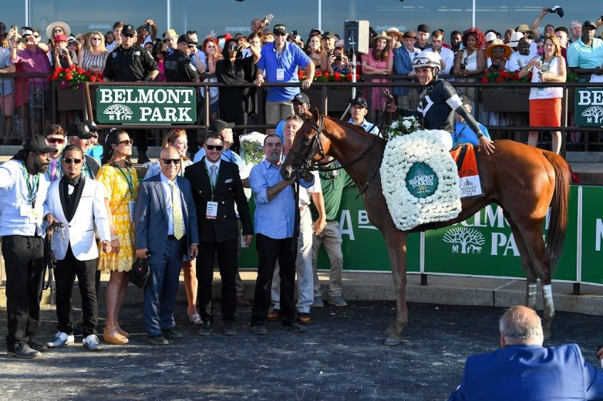 Sir Winston and jockey Joel Rosario won the 151st Belmont Stakes in 2019.