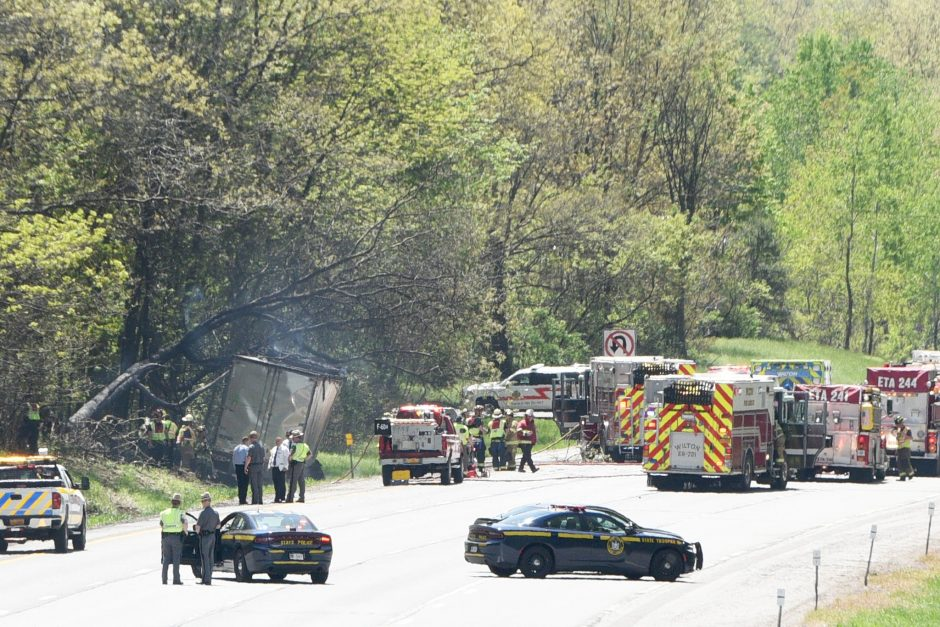 Tractor trailer accident and fire southbound south of exit 16 on I-87 in Wilton.