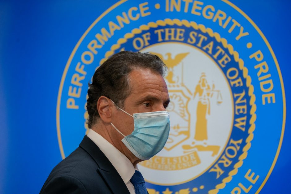 Gov. Andrew Cuomo delivers his daily briefing on the coronavirus, at the New York State Capitol, March 29, 2020.