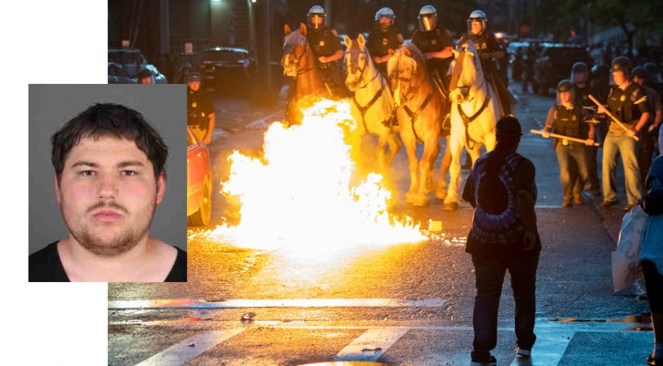 James Vale (inset); A scene from Saturday night's violent protest (background)