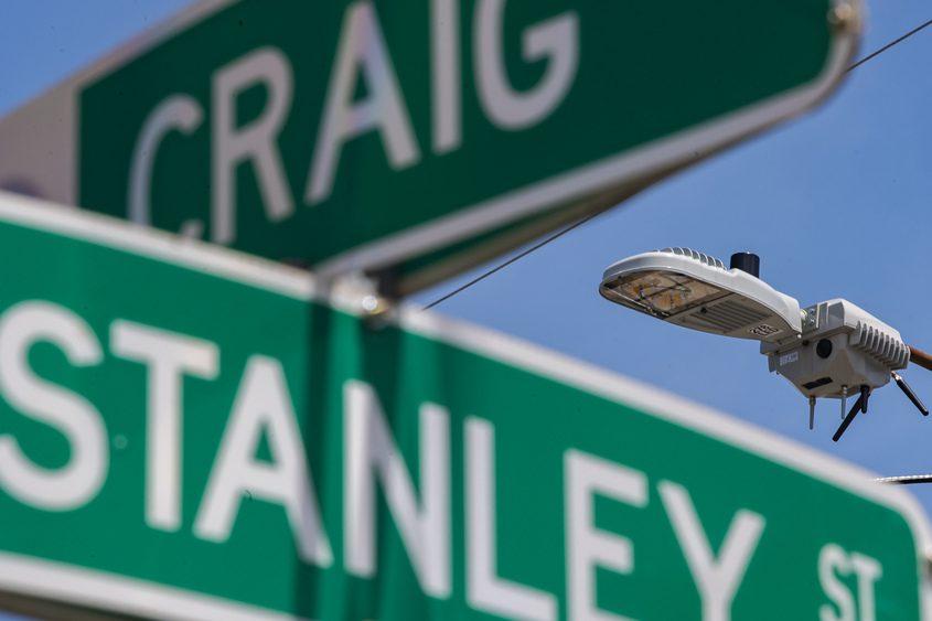 A gun shot detector above Craig and Stanley streets in Schenectady last week