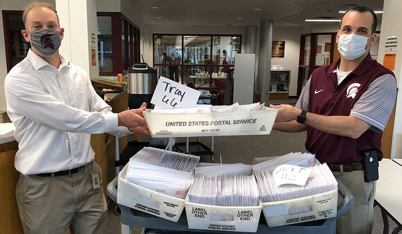 Ballots ready to be mailed this past weekend in BHBL