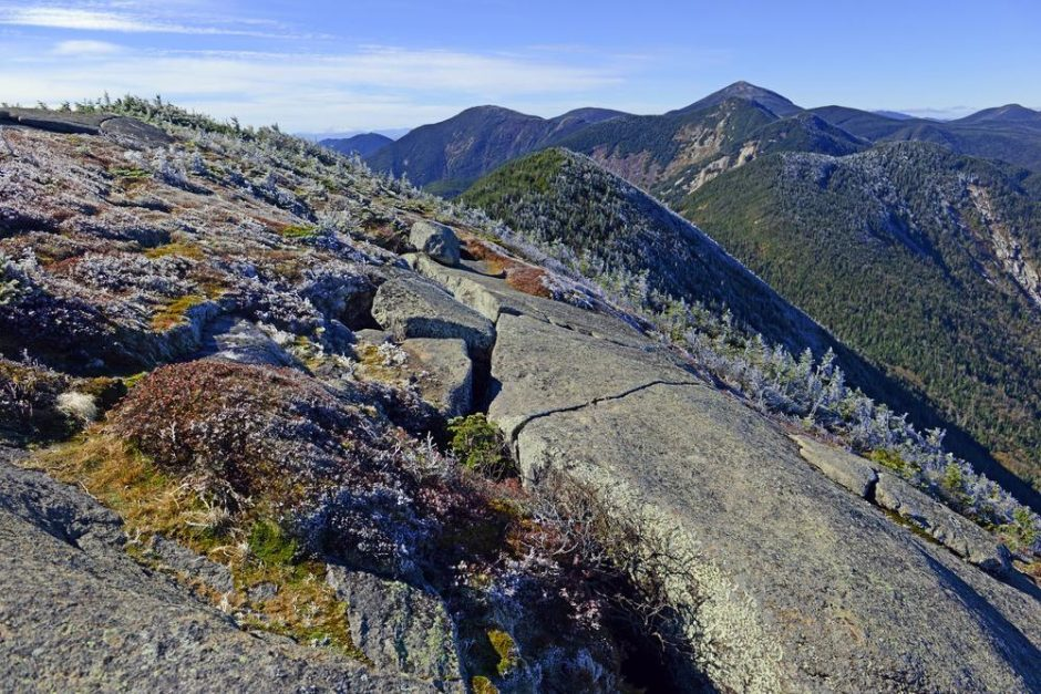 Alpine landscape near summit on a climb of Gothics Mountain, an Adirondack 46er.