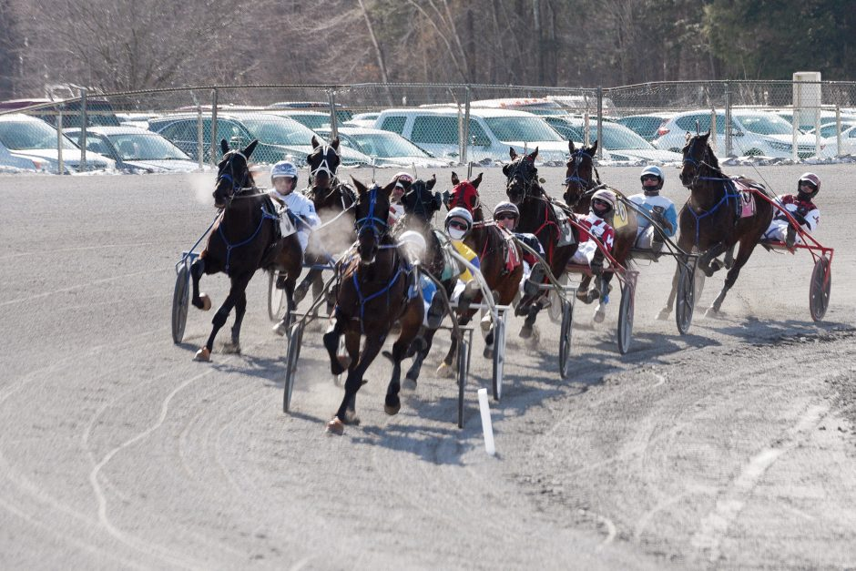 Horses and drivers during the third race on opening day of the 2019 at Saratoga Raceway season.