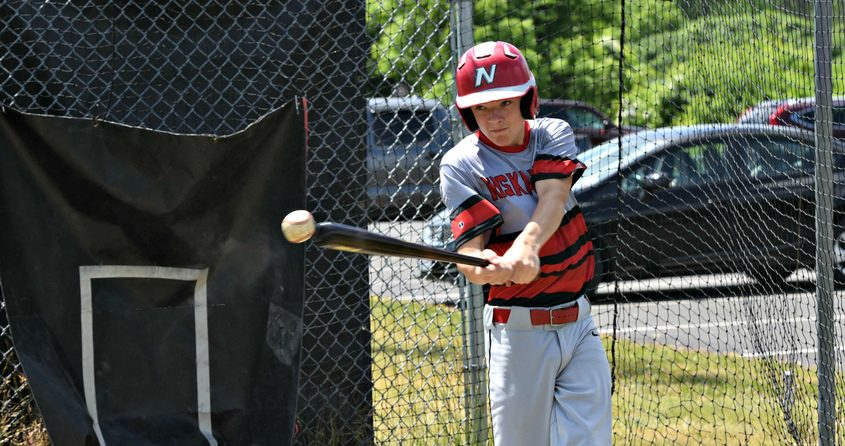 Tommy Titsworth, 15, of Niskayuna swings away in a batting cage at Blatnick Park Monday