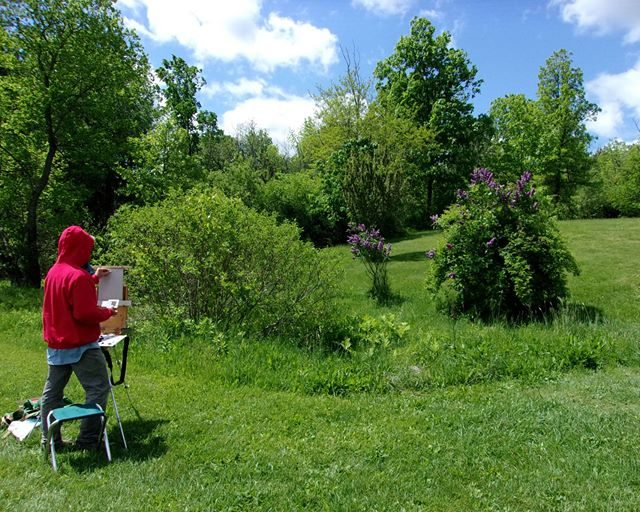 An artist sets up to paint at Landis Arboretum recently.
