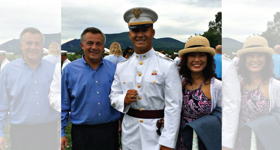 2nd Lt. Benjamin Schiher (center) stands with his parents after his commencement ceremony at the U.S. Military Academy June 13.
