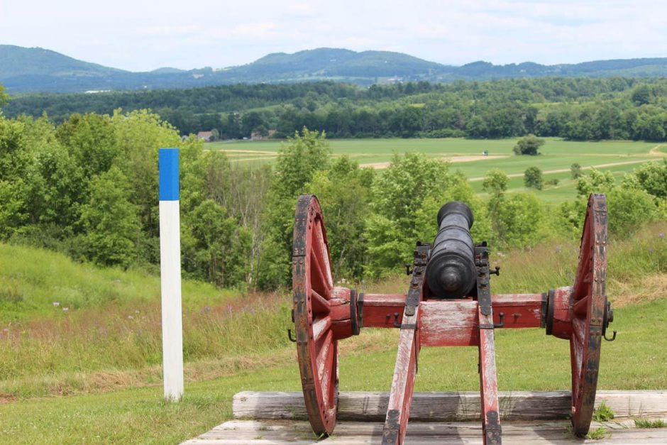 A cannon is seen at tour stop 3 at Saratoga National Historical Park on July 16, 2014