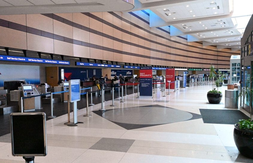 Albany International Airport, shown nearly deserted in March, is seeing gradually increasing travel activity.