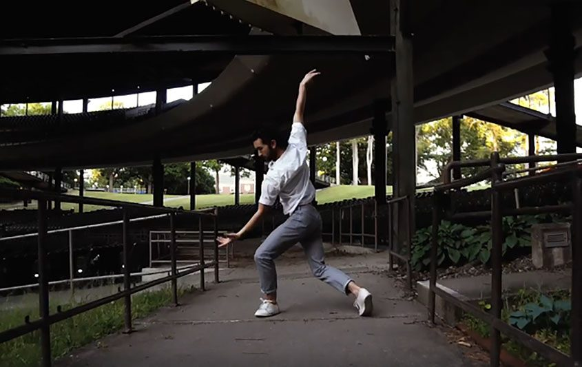 An image from a New York City Ballet dance video at SPAC.