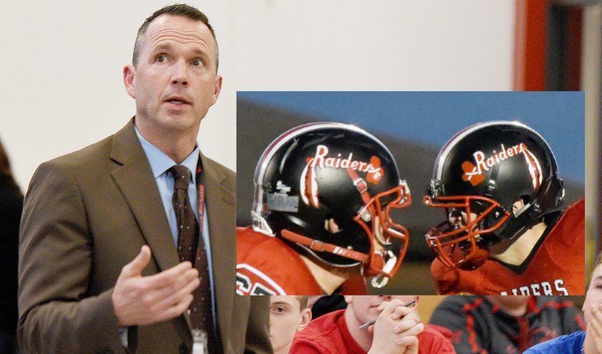 Mechanicville Superintendent Bruce Potter in January and two Mechanicville football players (inset)