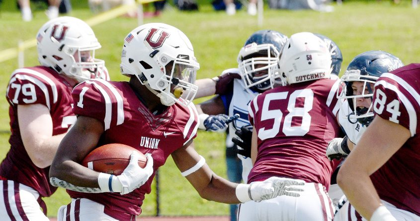 Union's Ike Irabor with the ball against Westfield during their first home game in Schenectady on Sept. 7