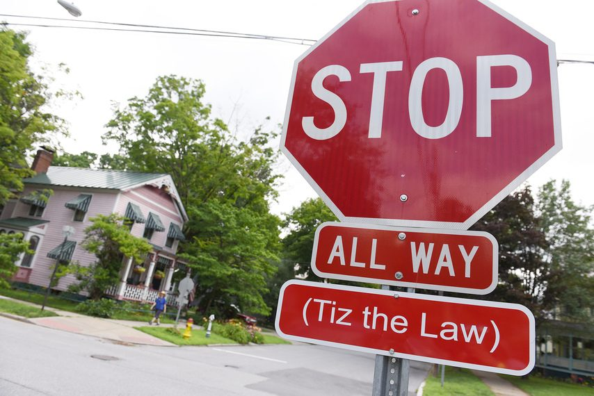 This stop sign in Saratoga Springs is an ode to Belmont Stakes winner Tiz the Law.