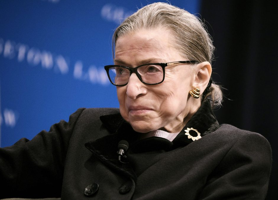 Justice Ruth Bader Ginsburg during a lecture at Georgetown Law in Washington, Oct. 30, 2019.