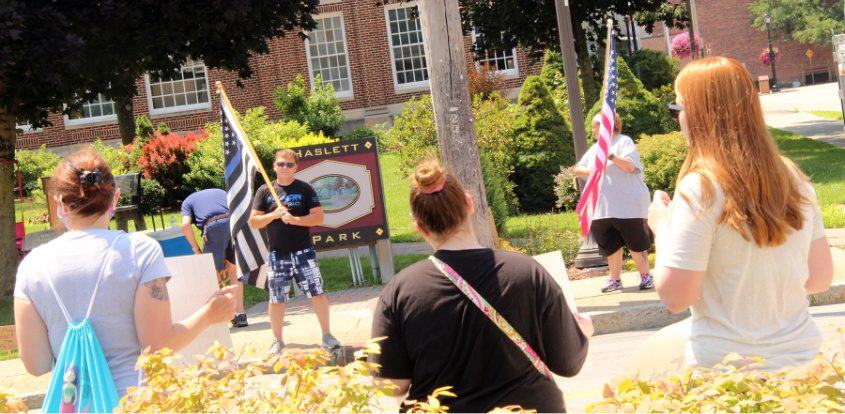 Black Lives Matter supporters countered a Blue Lives Matter protest in Haslett Park, Fort Plain, Sunday.