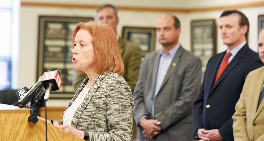 Director of Saratoga County Office of Public Health CatherineDuncan speaks in March