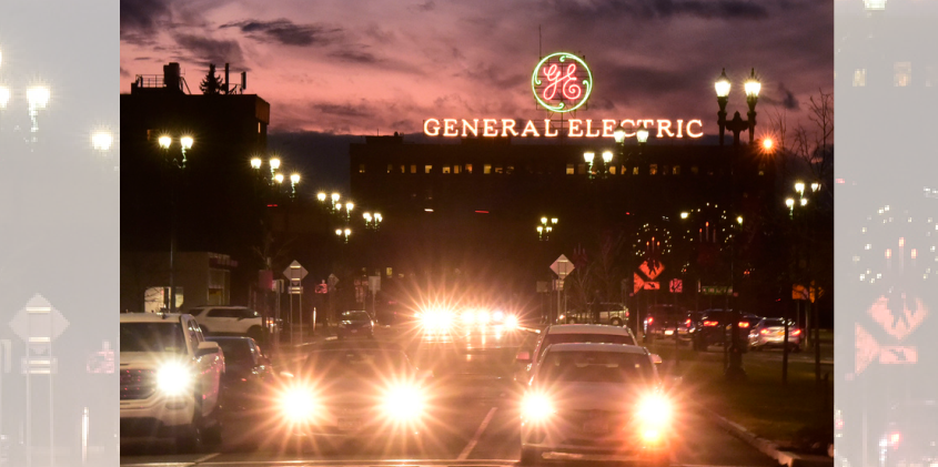 The landmark General Electric sign in Schenectady is shown in December 2018.