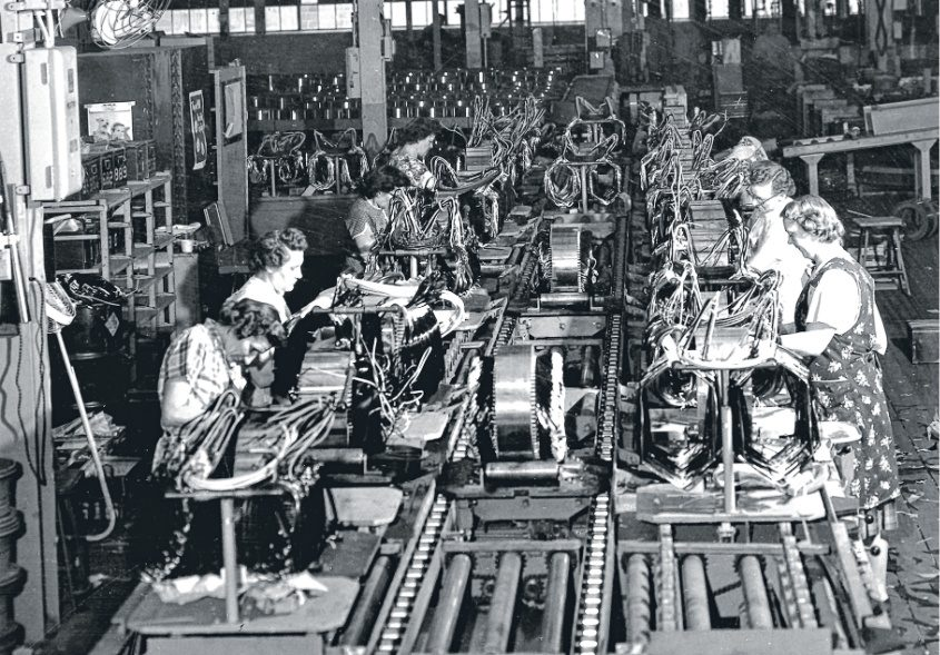 Women wind armatures at GE during World War II. Women became a major — and important — part of the workforce.