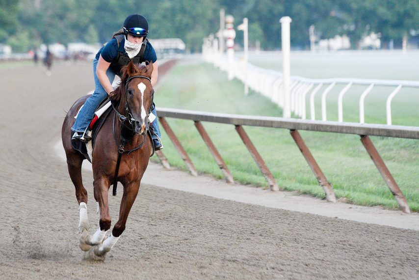 Code of Honor goes for an easy gallop on the Oklahoma training track last Saturday in preparation for the Whitney.