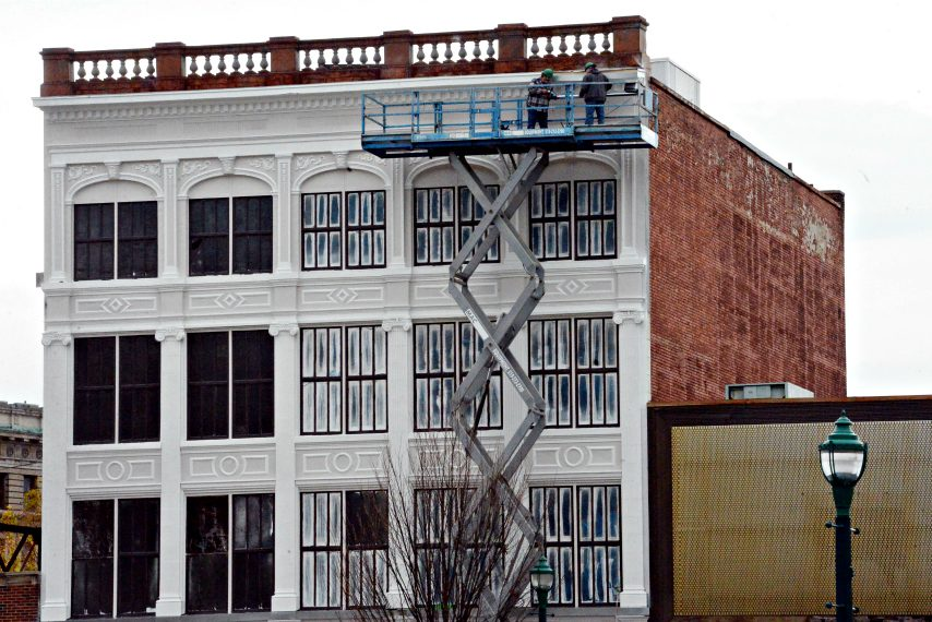 Jeff Buell and Redburn Development Partners restoring the old Gazette Press Building on Broadway last year.