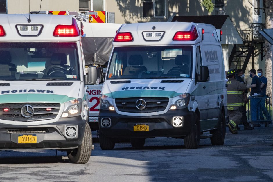 Ambulances and firefighters at the scene Wednesday