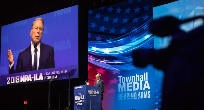 Wayne LaPierre, the chief executive of the National Rifle Association, speaks in 2018