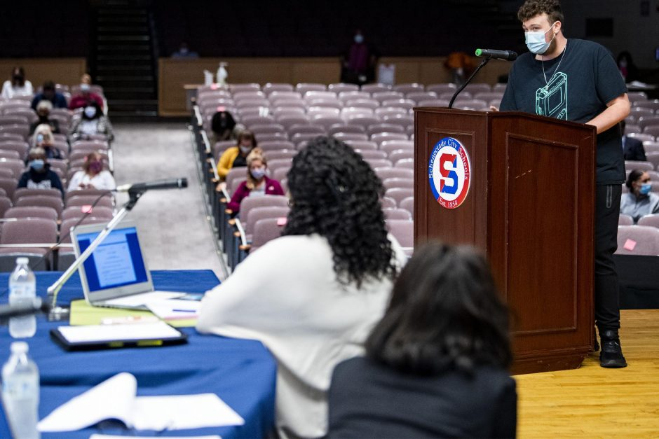 Schenectady High School student Joey Joyce, 16, addresses the School Board at Schenectady High School September 2, 2020.