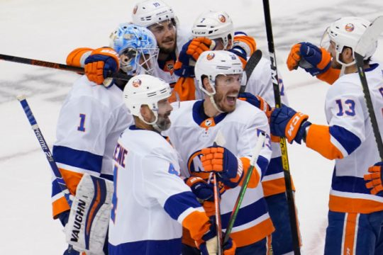 The New York Islanders celebrate eliminating the Philadelphia Flyers from the Stanley Cup Playoffs on Saturday. John E. Sokolowski/USA TODAY Sports