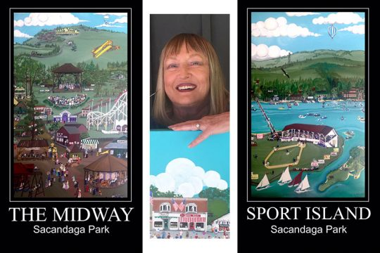 Artist Linda Finch is pictured between two of her paintings in the Sacandaga Park triptych. Provided photo