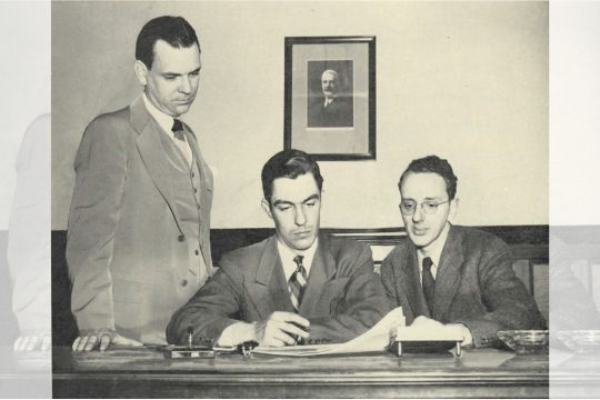 """It is easy to look back now at even the hard years of the Depression and realize that the paper came through all right. But the 1930s would indeed begin a long period of transition for the Gazette, as a new generation of owners begin to take an active role in the paper's operations.  In 1931, the Gazette took on a correspondent still in his teens who would be involved in the paper for almost 50 years.  John E.N. Hume Jr. had actually been involved with the Gazette from birth, through his grandfather and mother. And he would rise through the ranks with noticeable rapidity. After graduating from the University of Virginia in 1937, he was a reporter and photographer until 1940, when he became city editor, then editor in 1946. He retired in 1980, although his real involvement in the day-to-day running of the Gazette had diminished well before that.  Asked if there was pressure on the Hume brothers to join the Gazette, David Hume said no. But he did acknowledge that their mother, Gerardus Smith's daughter Anna, hoped that the boys would go into the business.  And in some ways, the Hume brothers would offer the same contract as the Smith brothers, or Anna Hume and Eleanor Green, before them. To some outsiders, the Hume brothers seem closed-mouthed, but to Jack Hume, John's son, David was the more gregarious of the two.  Next:The Gazette's origins: The paper celebrates its first half century (1940–1949)     Jack Hume recalls his father as a young man, someone who did not suffer foolishness and who took a hard line on matters such as labor unions. When Jack Hume speaks of the paper's relations with its unions as """"adversarial,"""" one again hears the echo of a conservatism that had become part of the Gazette by the mid-1930s.  For even as it was embracing one of its own, the Gazette steadily turned its back on another longtime ally over the course of the decade.  Apparently because of disenchantment with Franklin D. Roosevelt, the Gazette ceased to be a Democratic newspaper, in"""