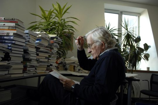 The linguist Noam Chomsky in his office at the Massachusetts Institute of Technology in Cambridge in a file photo from 2006. (Jodi Hilton/The New York Times)