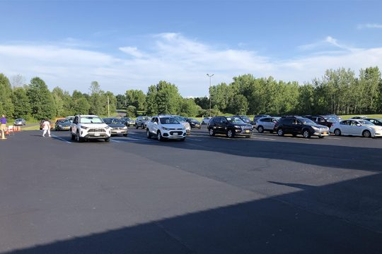 "Cars are spaced apart at the first ""Drive-In Bingo"" night held last month at Clifton Park Elks Lodge on MacElroy Road in Ballston Lake. (Courtesy of Clifton Park Elks Lodge)"
