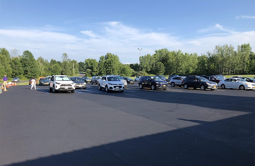 """Cars are spaced apart at the first """"Drive-In Bingo"""" night held last month at Clifton Park Elks Lodge on MacElroy Road in Ballston Lake. (Courtesy of Clifton Park Elks Lodge)"""
