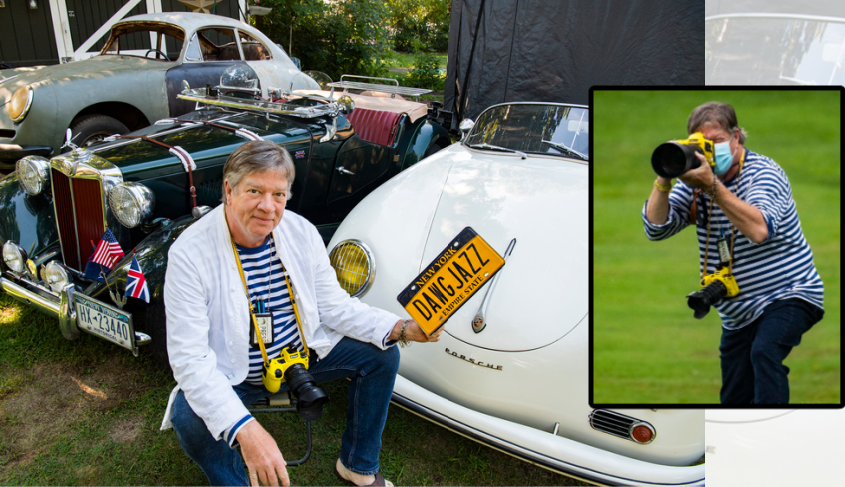 Gazette staff photographer Marc Schultz with his 3 vintage automobiles recently. Schultz with his camera (inset) Photos by Peter Barber/Staff Photographer