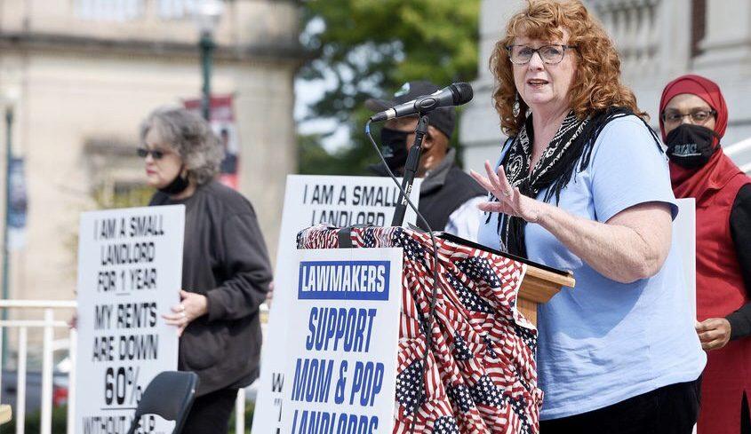 Schenectady Landlords Influencing Change Communication Secretary Kimlee Marquise speaks Tuesday. Credit:ERICA MILLER/STAFF PHOTOGRAPHER
