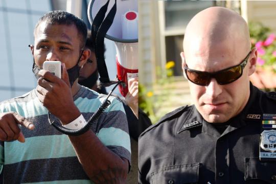 Yugeshwar Gaindarpersaud, left, Monday; Officer Brian Pommer in 2018, right. Credit: Erica Miller and Peter Barber/Staff Photographers