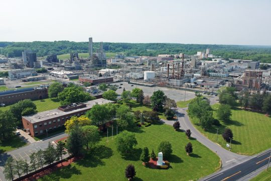 Momentive Performance Materials' Waterford campus is shown in the aerial photo provided by the company.