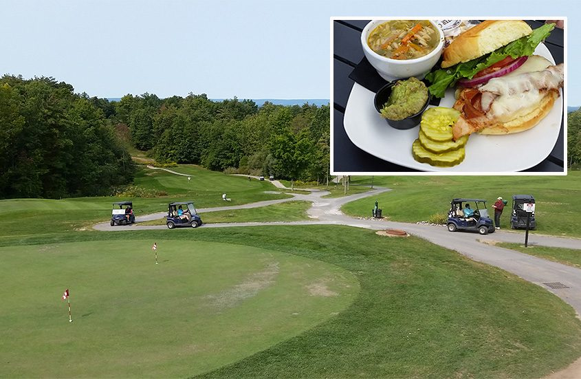 The view from the deck at The Hideaway at Saratoga Lake Golf Club. Inset,California chicken with bacon and Swiss cheese and guacamole. (Caroline Lee)